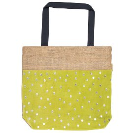 Shopper bag jute dots green