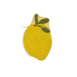 Münztasche Perlen Zitrone