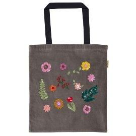 Shopper Lieblingstasche Blumen Grau
