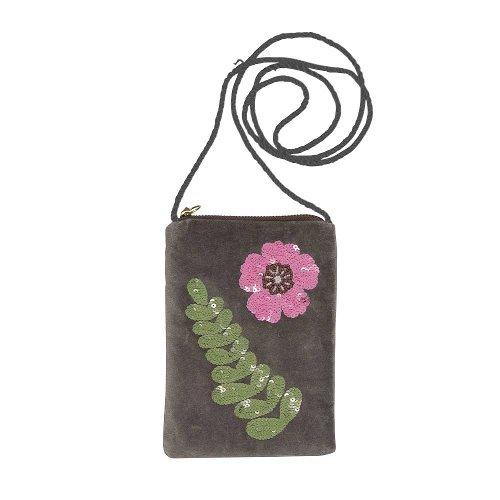 Cellybag Samt Blumen Grau