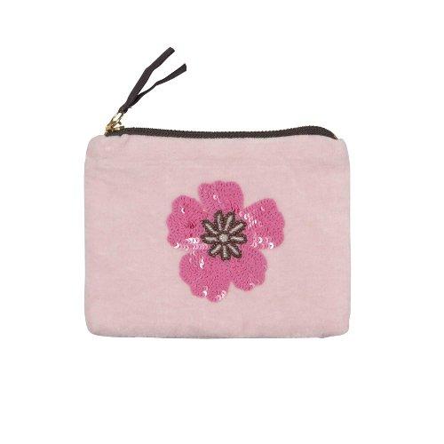 Pearl bag velvet flower pink