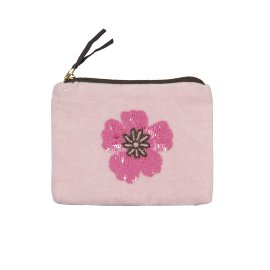 Pearl bag velvet flower pink