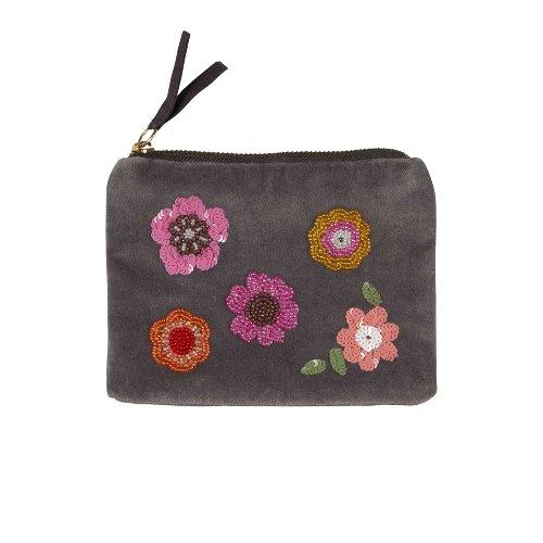 Pearl bag velvet flowers grey