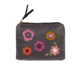 Pearl bag velvet flowers grey