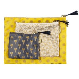 Travel Organizer 3 pcs. set yellow creme anthracite