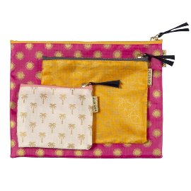 Travel Organizer 3 pcs. set pink orange creme