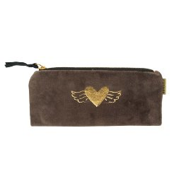 Pouch velvet heart wings