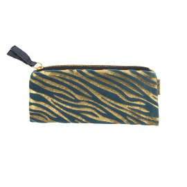 Pouch velvet zebra pattern