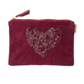 Cosmetic bag velvet sequins heart