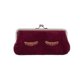 Cosmetic bag velvet sleepy eyes wine red