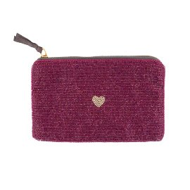 Pearl bag heart wine red