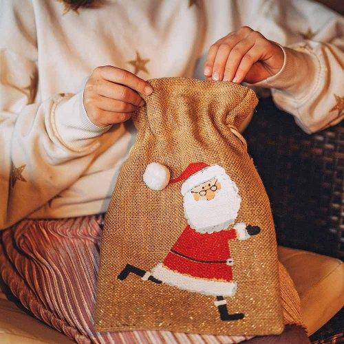 Gift bag jute Santa Claus