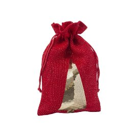 Gift bag jute Christmas tree sequins