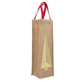 Bottle bag jute Christmas tree sequins