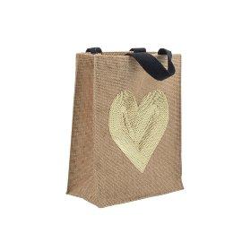 Gift bag jute heart sequins nature