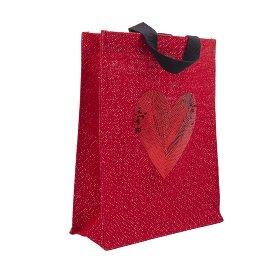 Gift bag jute heart sequins red