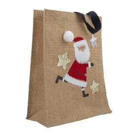 Gift bag jute Santa Claus sequins