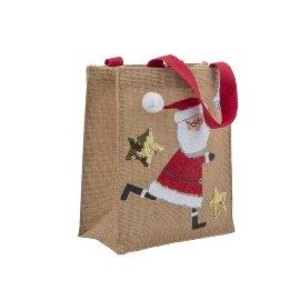 Geschenktasche Jute Weihnachtsmann Pailletten