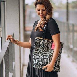 MAJOIE shopper bag black white