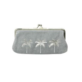 Cosmetic bag velvet palm trees