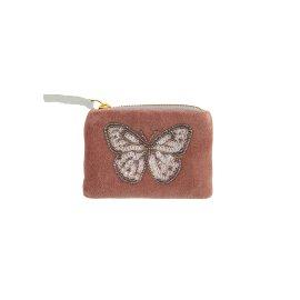 Coin pocket velvet pearl sequins butterfly