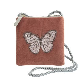 Crossover clutch velvet pearl sequins butterfly