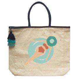 Beach bag bathing woman