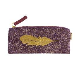 Pouch velvet feather violet