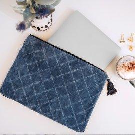 MAJOIE laptop sleeve velvet jeans blue