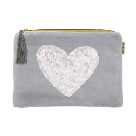Cosmetic bag velvet sequins heart blue
