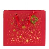 Tasche/32,5x38x11cm/rot/Sterne/gold