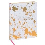 **Schreibbuch/DIN A5/Kleckse/weiß/gold